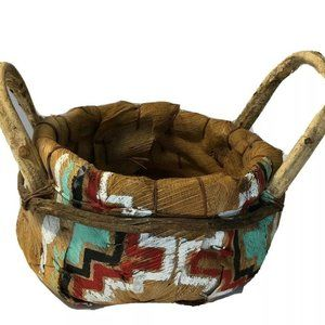 Rare Hand Woven Bark Basket South Western Painted